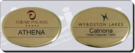 reusable oval premier name badges